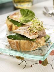 pork backbone and green pepper open sandwich