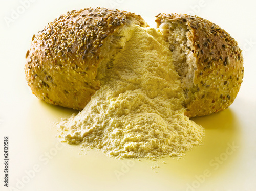 multi granary bread loaf and flour