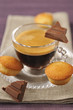 coffee ,pieces of chocolate and financiers