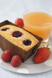 raspberry financiers,strawberries and grapefruit juice