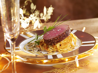 sliced ostrich roast with spicy crust