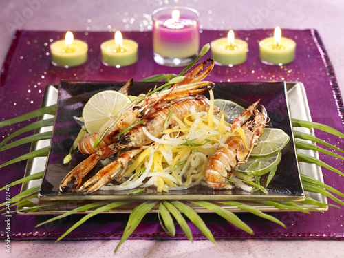 caramelized dublin bay prawn and papaya thai salad