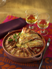 trout and bacon parmentier cake