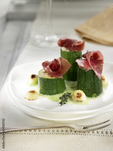 courgettes stuffed with goat's cheese and raw ham