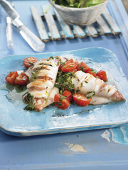 grilled squid with tomatoes and herbs