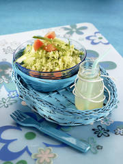 semolina,tomato,cucumber and melon salad