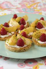 white peach and raspberry shortbread tartlets