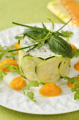 garlic ,fresh herb goat's cheese and zucchini timbale with carrot puree