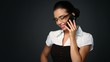 Portrait of beautiful business woman talking cell phone