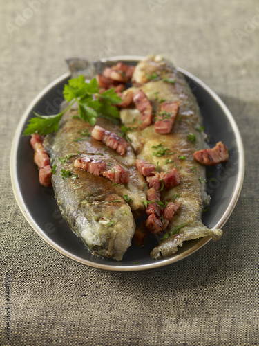 trouts with diced bacon