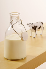 glass bottle of milk and a plastic cow