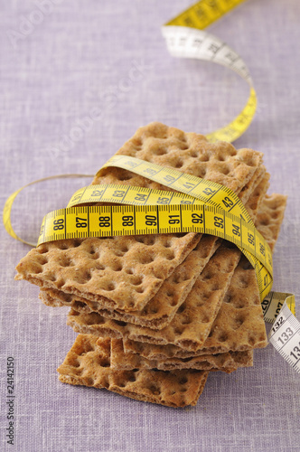 light crisp bread and measuring tape