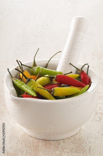 pimentos in a mortar