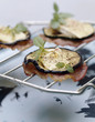 grilled eggplant,bacon and brie appetizers