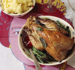 roast guinea-fowl with sage and onions