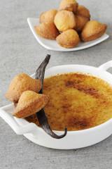 crème brûlée and  mini vanilla-flavored madeleines
