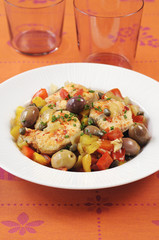 stewed dogfish with peppers,olives and capers