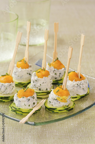 zucchini,garlic and herb goat's cheese and carrot puree appetizers