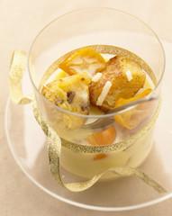 almond cream with kumquats and panettone