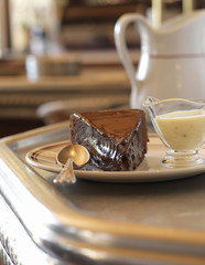 chocolate fondant with custard