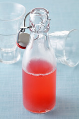 bottle of rhubarb cordial