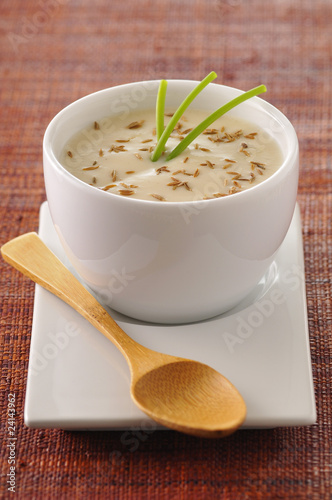 creamy cauliflower soup with cumin seeds