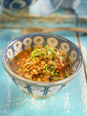 moroccan-style lentils with tomatoes,onions and cumin