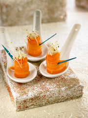 carrot,hummus and alfafa appetizers