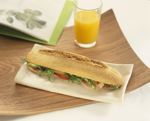 vegetarian carrot,tomato and asparagus sandwich
