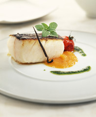 grilled salt-cod with vanilla with green and red pepper coulis