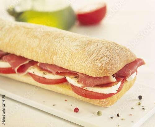 """tomato,mozzarella and raw ham ciabatta bread sandwich"""" photo libre de ..."""