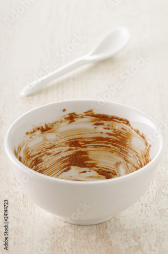 empty bowl of chocolate mousse