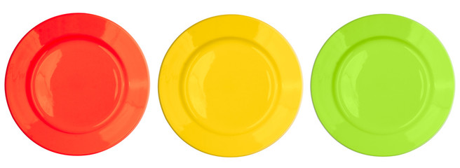 Red, yellow, green, color plates set isolated on white