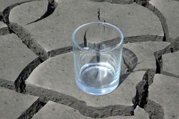 a glass in the dry land