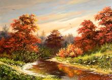 Hösten landskap med floden