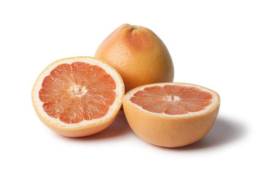 Whole and half grapefruits