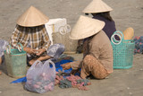 Vietnamese fishermen on the beach