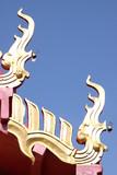 naga fin on roof of temple, Wat Tarae, Mahasarakam poster