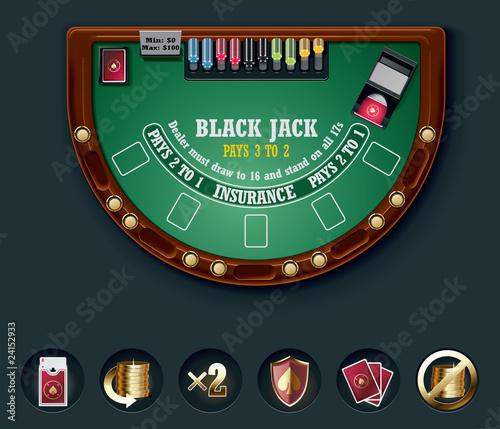 Vector blackjack table layout