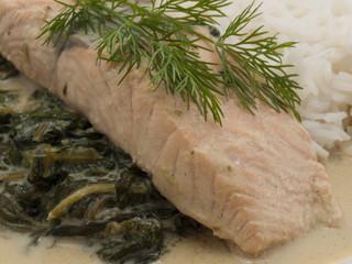Lachs auf Spinat