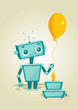 roleta: Cartoon robot with birthday cake