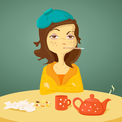 Cartoon girl with illness, vector illustration