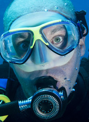 head shot of scuba diver