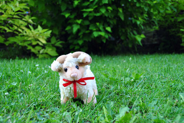Small toy lamb sitting on meadow