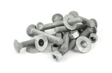 Several new galvanized steel nuts, bolts and washers poster