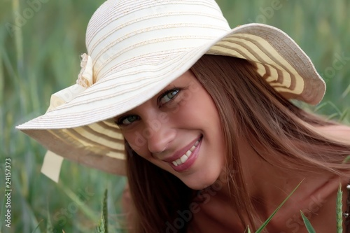 portrait of a beautiful woman in a countryside