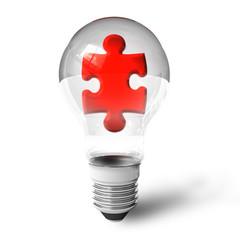 Puzzle piece in lightbulb