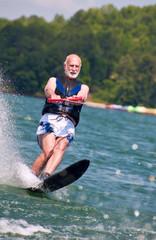 Senior waterskiing