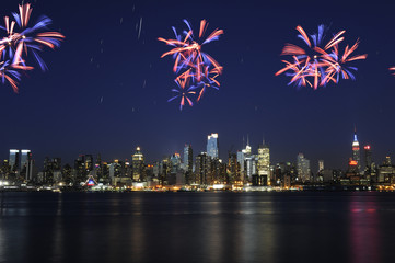 Spectacular fireworks over midtown Manhattan
