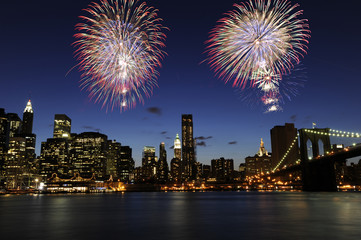 Spectacular fireworks over downtown Manhattan